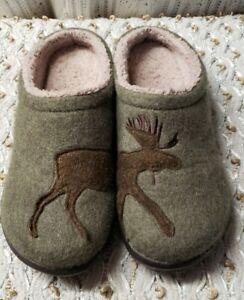 LL Bean Womens Daybreak Wool Scuffs  Moose Motif Slippers 305194 Green Sz 9M