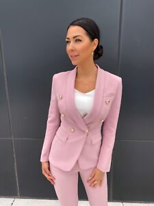 NEW! Double Breasted Pink blazer set pants suit with gold buttons jacket suit S