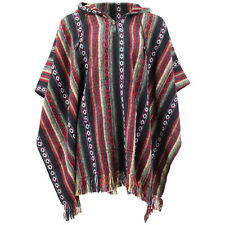 HIPPIE HOODIE PONCHO ETHNIC MEXICAN STYLE GHERI COTTON FESTIVAL Black & Red