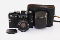 ZENIT 12CD Black EDITION SOVIET SLR film camera w/s lens Helios 44M EX