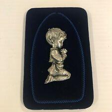 "Vintage Pewter Framed Child Praying NIB Made in Italy 5.25""x3.5 Free Shipping"