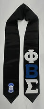 "Phi Beta Sigma Black Satin Graduation Stole Stoll Sash 4"" sewn letters w/crest"