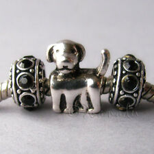 Labrador Puppy Dog Charm And Crystal Birthstones For European Style Charm Beads