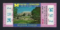 1975 NCAA NORTHWESTERN WILDCATS vs MICHIGAN WOLVERINES FULL FOOTBALL TICKET