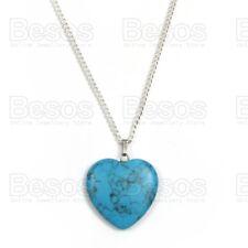 BLUE HEART VEINED TURQUOISE HOWLITE GEMSTONE pendant NECKLACE silver fashion UK