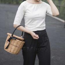 100% Handmade Basket Bamboo Bags Woven Tote Wicker Handbag Straw With Lid Bags
