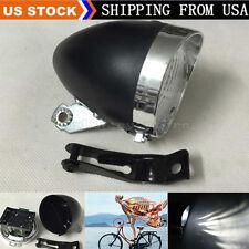 Black Vintage Bicycle Bike 3 LED Retro Headlight Front Light Fog Head Night Lamp