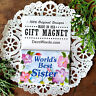 WORLDS BEST SISTER * Gift MAGNET * Decowords USA Pretty floral fridge Gift NEW