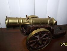 "Vintage Collectable BRASS & CAST IRON CANNON 10"" BARREL 13"" TOTAL W/CARRIAGE"
