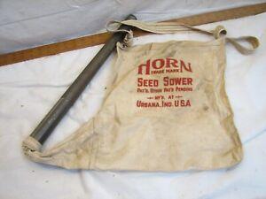 Vintage Horn Seed Sower Bag Tin Tube Planter Farm Tool Agricultural Garden Scott