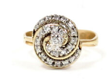 Cluster Right Hand Ring .55ct 14k Yellow Gold Round Diamond