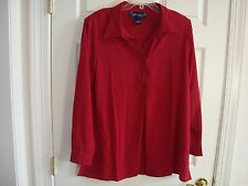 Susan Graver Dark Red/Burgundy Cool Peachskin Trapunto Stitch Henley Top L NEW