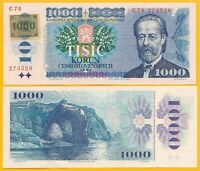 Czech Republic 1000 Korun p-3a 1985 (1993) UNC Banknote