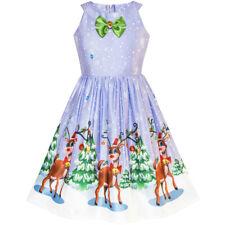 US STOCK! Girls Dress Purple Christmas Reindeer Snow Xmas Tree Party Size 7-14