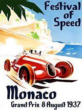 Publicité grand prix voiture automobile Festival de vitesse MONACO Poster lv381