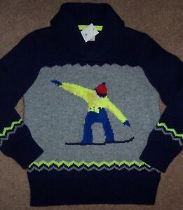 NWT Baby Gap $44.95 Navy/Gray Sweater Neon SNOWBOARD SKIER 4/4T Toddler Boy FUN!