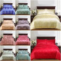 Satin Duvet Cover Silk Jacquard Fabric 4 Piece King Size Bedding Set, Pillowcase