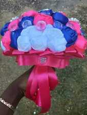Royal Blue and Pink Brooch Bouquet