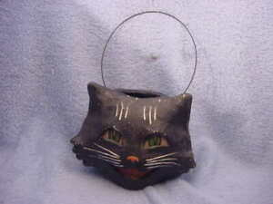 Bethany Lowe Halloween Happy Cat Black Cat LARGE Bucket  Vintage Reproduction