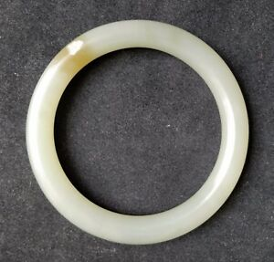 Chinese Gray / Green HeTian round Jade bracelet bangle inner diameter: 54.50 mm