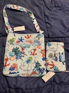 New Vera Bradley purse Bag Crossbody Hipster Anchors Aweigh + TURNLOCK WALLET!!!