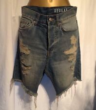 Denim shorts ripped torn distressed trousers, men's / boys  size 28 UK