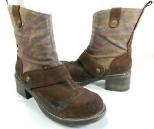 Women's Brown London Underground Mid Calf Suede Leather Canvas Boots Size 10