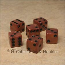 New 6 Olympic Bronze w Black Pips D6 Dice Set D&D RPG Game 16mm 5/8 inch Die