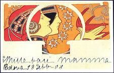 CARTOLINA - PROFILI FEMMINILI CON LUME AD OLIO - ILL. ENZO BOSCO - ITALIA 1908