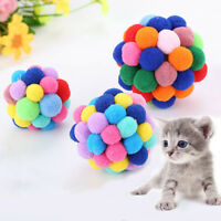 Pet Cat Toy Colorful Handmade Bell Bouncy Ball Built-In Catnip Interactive Toys