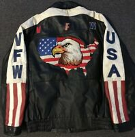Vtg American Flag Bald Eagle VFW USA Leather Jacket L Veteran Biker Army 80s 90s