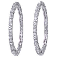 CZ Round Hoop Earring Swarovski Elements 18k White Gold Plated 1512 2E 23 D3