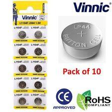 10 x Vinnic ALKALINE 1.5V L1154F AG13 Coin Button Battery LR44 Cell A76 V13GA UK
