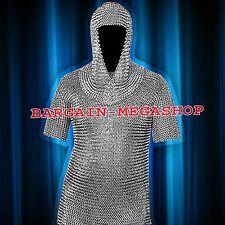 Butted Aluminium Chain Mail Shirt & Coif , Chainmail Haubergeon w/ Hood