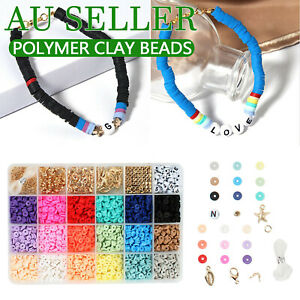 Flat Polymer Clay Beads Spacer for DIY Bracelets Jewelry Making Finding Plastic