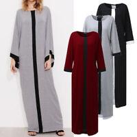 ZANZEA Women Stripe Kaftan Caftan Abaya Gown Full Length Ladies Long Maxi Dress