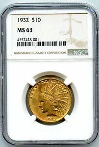 1932 Ten Dollar $10 Indian NGC MS 63