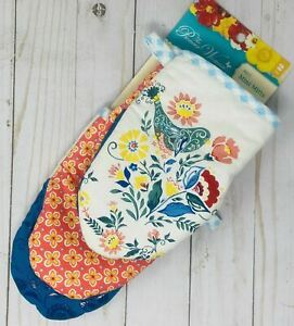 NWT The Pioneer Woman Pair (2) Mini Oven Mitts MAZIE Silicone grip teal birds
