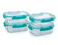 4 x Glass Meal Prep Containers With Silicon Lids, Baby Food Storage Lunch 840ML