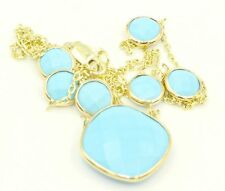 "Turquoise 17"" Necklace ,14k Yelllow Gold Cable Chain"