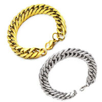 8mm Mens Women Gold Silver Stainless Steel Bracelet Bangle Cuff Wristband Chain