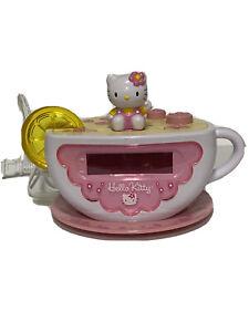 HELLO KITTY Digital Alarm Clock Radio Tea Cup Lemon Night Light Tested/works