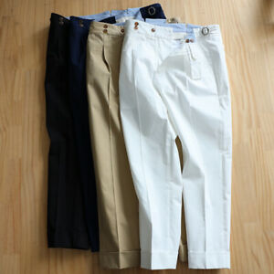 Men's Casual Pants Slacks Adjustable Waist Loop Pleated Suit Pant Retro Trousers