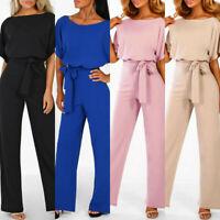Women Casaul Short Sleeve Solid Loose Playsuit Straight Leg Jumpsuit With Belt