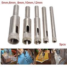 "5pc Diamond Dust Drill Bit Hole Saw 1/4"" inch Shank Tile Marble Glass Cutter Set"