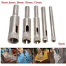 """5pc Diamond Dust Drill Bit Hole Saw 1/4"""" inch Shank Tile Marble Glass Cutter"""