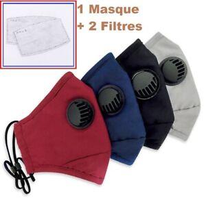 ❤ Masques de Protection Tissu Lavable en Coton Réutilisable plus 2 Filtres PM2.5