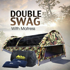 Double Dome Army SWAG Camping Tent SET Camo w/ Mattress & 2 Pillows - CAMOUFLAGE