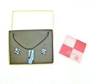 Ten Thousand Villages Handcrafted Beadwork Necklace & Earring Set Blue NIB $49