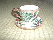 Yankee Candle Tea Cup and Saucer Tealight Holders Holly Christmas Winter